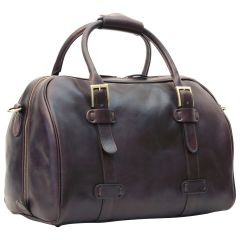 Cowhide leather duffel bag - Dark Brown