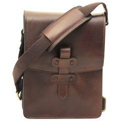 Cowhide leather messenger bag - Dark Brown