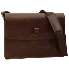 Leather messenger bag - Dark Brown