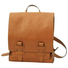 Cowhide leather backpack with double buckle closure - Brown Colonial