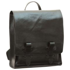 Cowhide leather backpack with double buckle closure - Black