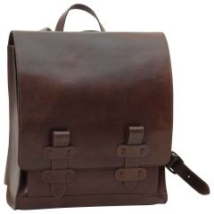 Cowhide leather backpack with double buckle closure - Dark Brown