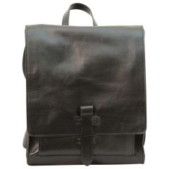 Leather backpack with buckle closure - Black