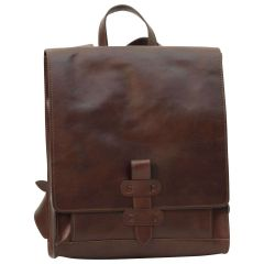 Leather backpack with buckle closure - Dark Brown