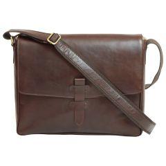 Cowhide Leather Messenger - Dark brown