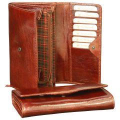 Vachetta leather wallet for women - Brown
