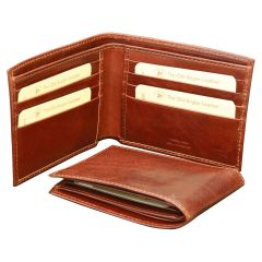 Leather bifold wallet for men - Brown