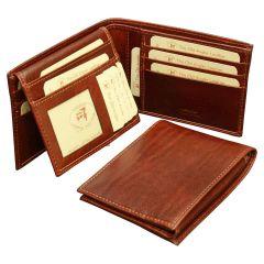 Cowhide leather bifold wallet - Brown