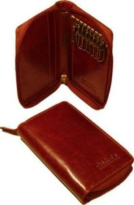 Leather Key Holder with zip closure - Brown