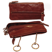 Leather Key Case with zip pocket - Brown
