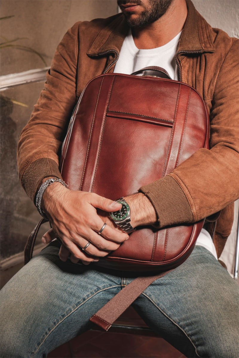 soft calfskin leather backpack brown